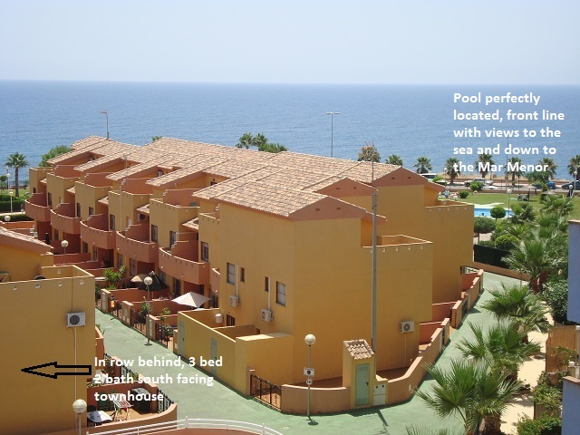 3 Bedroom south facing townhouse for sale Cabo Roig